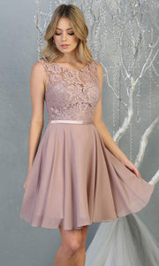 Mayqueen MQ1814 short mauve pink high neck flowy grade 8 graduation dress w/ corset & simple skirt. Dusty rose party dress is perfect for prom, graduation, grade 8 grad, confirmation dress, bat mitzvah dress, damas. Plus sizes avail for grad dress.jpg