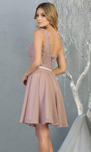 Mayqueen MQ1814 short mauve pink high neck flowy grade 8 graduation dress w/ corset & simple skirt. Dusty rose party dress is perfect for prom, graduation, grade 8 grad, confirmation dress, bat mitzvah dress, damas. Plus sizes avail for grad dress-b.jpg