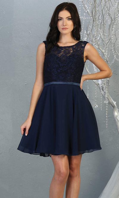 Mayqueen MQ1814 short navy blue high neck flowy grade 8 graduation dress w/ corset & simple skirt. Dark blue party dress is perfect for prom, graduation, grade 8 grad, confirmation dress, bat mitzvah dress, damas. Plus sizes avail for grad dress1.jpg