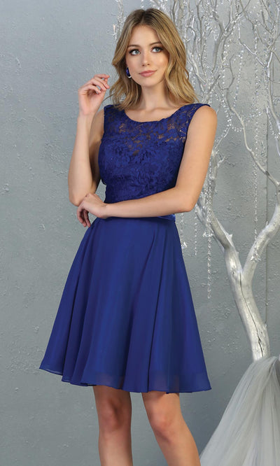 Mayqueen MQ1814 short royal blue high neck flowy grade 8 graduation dress w/ corset & simple skirt. Royal blue party dress is perfect for prom, graduation, grade 8 grad, confirmation dress, bat mitzvah dress, damas. Plus sizes avail for grad dress.jpg