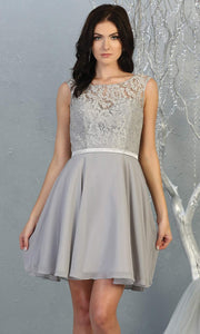 Mayqueen MQ1814 short silver gray high neck flowy grade 8 graduation dress w/ corset & simple skirt. Light Grey party dress is perfect for prom, graduation, grade 8 grad, confirmation dress, bat mitzvah dress, damas. Plus sizes avail for grad dress.jpg