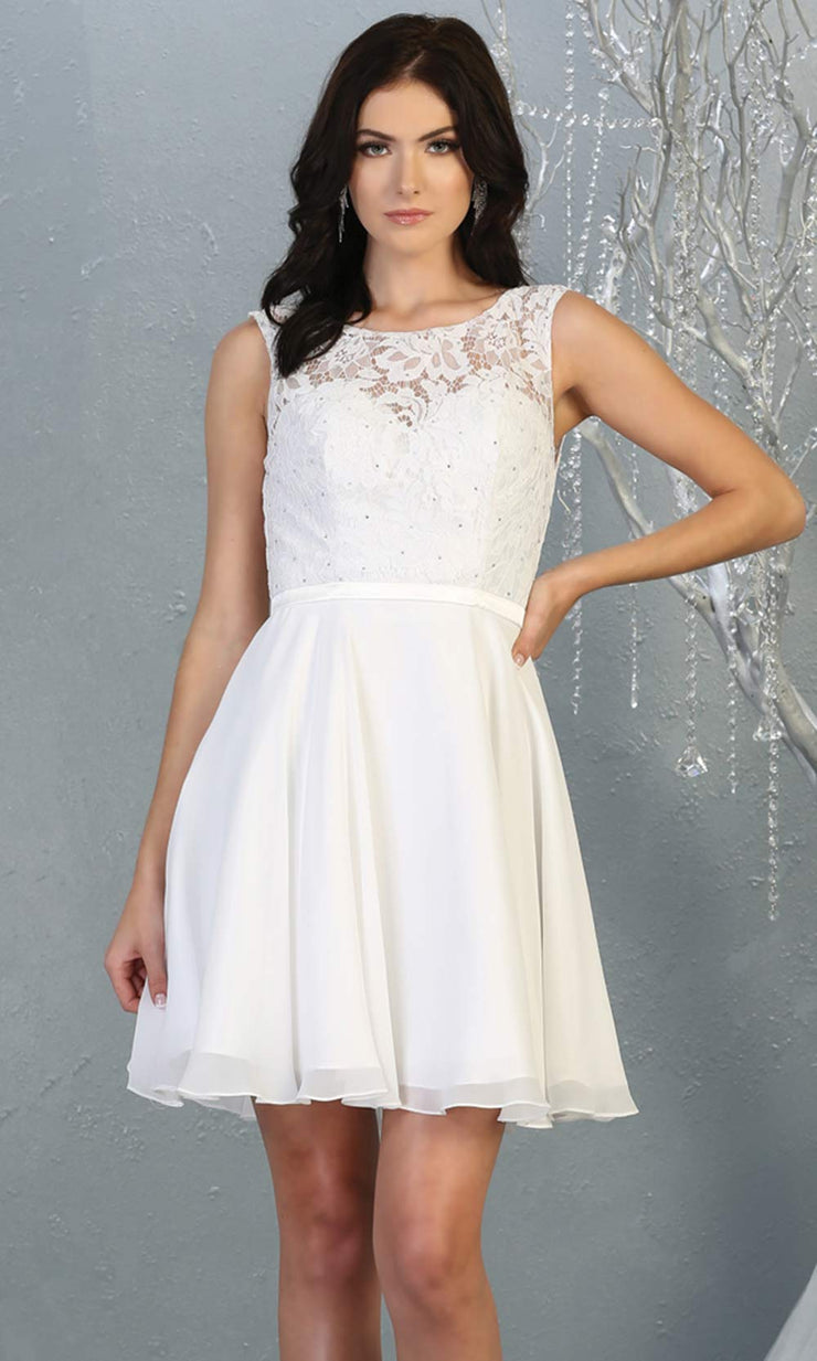 Mayqueen MQ1814 short white high neck flowy grade 8 graduation dress w/ corset & simple skirt. White party dress is perfect for prom, graduation, grade 8 grad, confirmation dress, bat mitzvah dress, damas. Plus sizes avail for grad dress.jpg