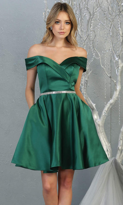 Mayqueen MQ1815 short hunter green off shoulder flowy grade 8 graduation dress w/belt & simple skirt. Dark green party dress is perfect for prom, graduation, grade 8 grad, confirmation dress, bat mitzvah dress, damas. Plus sizes avail for grad dress.jpg