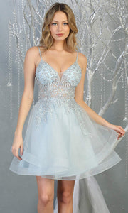 Mayqueen MQ1816 short baby blue v neck flowy grade 8 graduation dress w/beaded top & puffy skirt. Light blue party dress is perfect for prom, graduation, grade 8 grad, confirmation dress, bat mitzvah dress, damas. Plus sizes avail for grad dress.jpg