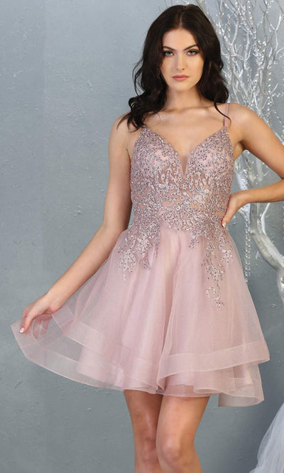 Mayqueen MQ1816 short mauve v neck flowy grade 8 graduation dress w/beaded top & puffy skirt. Dusty rose party dress is perfect for prom, graduation, grade 8 grad, confirmation dress, bat mitzvah dress, damas. Plus sizes avail for grad dress.jpg