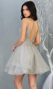Mayqueen MQ1816 short silver gray v neck flowy grade 8 graduation dress w/beaded top & puffy skirt. Light grey party dress is perfect for prom, graduation, grade 8 grad, confirmation dress, bat mitzvah dress, damas. Plus sizes avail for grad dress-b.jpg