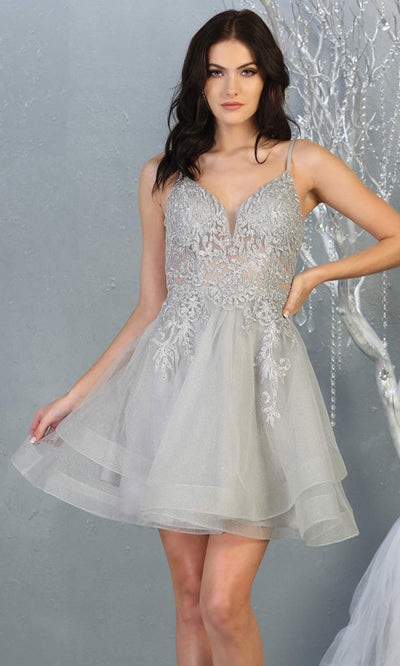 Mayqueen MQ1816 short silver gray v neck flowy grade 8 graduation dress w/beaded top & puffy skirt. Light grey party dress is perfect for prom, graduation, grade 8 grad, confirmation dress, bat mitzvah dress, damas. Plus sizes avail for grad dress.jpg