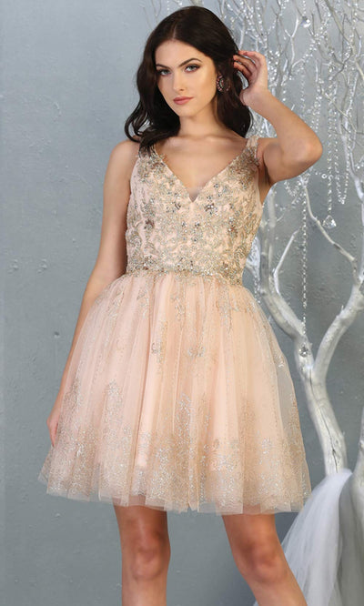 Mayqueen MQ1817 short blush pink v neck flowy grade 8 graduation dress w/beaded top & puffy skirt. Light pink party dress is perfect for prom, graduation, grade 8 grad, confirmation dress, bat mitzvah dress, damas. Plus sizes avail for grad dress.jpg