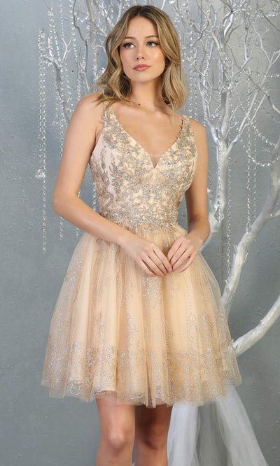 Mayqueen MQ1817 short champagne v neck flowy grade 8 graduation dress w/beaded top & puffy skirt. Light gold party dress is perfect for prom, graduation, grade 8 grad, confirmation dress, bat mitzvah dress, damas. Plus sizes avail for grad dress.jpg