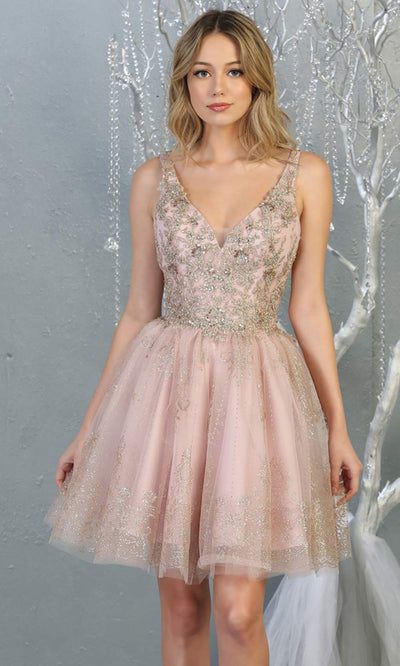 Mayqueen MQ1817 short mauve v neck flowy grade 8 graduation dress w/beaded top & puffy skirt. Dusty rose party dress is perfect for prom, graduation, grade 8 grad, confirmation dress, bat mitzvah dress, damas. Plus sizes avail for grad dress..jpg