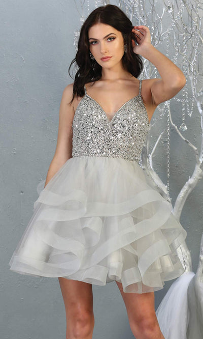 Mayqueen MQ1818 short silver v neck flowy grade 8 graduation dress w/beaded top & puffy tier skirt. Light gray party dress is perfect for prom, graduation, grade 8 grad, confirmation dress, bat mitzvah dress, damas. Plus sizes avail for grad dress.jpg