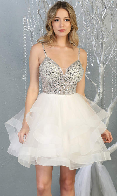 Mayqueen MQ1818 short white v neck flowy grade 8 graduation dress w/beaded top & puffy tier skirt. White party dress is perfect for prom, graduation, grade 8 grad, confirmation dress, bat mitzvah dress, damas. Plus sizes avail for grad dress.jpg