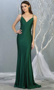 Mayqueen MQ1819 long hunter green sexy fitted prom dress w/open back. Full length dark green gown is perfect for enagagement/e-shoot dress, wedding reception dress, indowestern gown, formal evening party dress, prom. Plus sizes avail.jpg