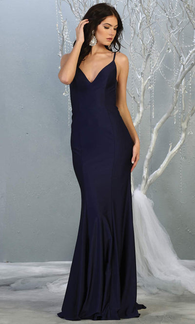 Mayqueen MQ1819 long navy blue sexy fitted prom dress w/open back. Full length dark blue gown is perfect for enagagement/e-shoot dress, wedding reception dress, indowestern gown, formal evening party dress, prom. Plus sizes avail.jpg