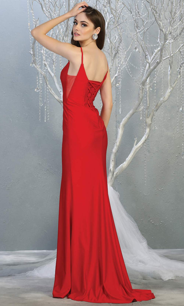 Mayqueen MQ1819 long red sexy fitted prom dress w/open back. Full length red gown is perfect for enagagement/e-shoot dress, wedding reception dress, indowestern gown, formal evening party dress, prom. Plus sizes avail-back.jpg