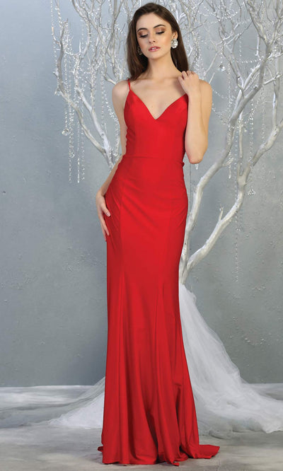 Mayqueen MQ1819 long red sexy fitted prom dress w/open back. Full length red gown is perfect for enagagement/e-shoot dress, wedding reception dress, indowestern gown, formal evening party dress, prom. Plus sizes avail.jpg