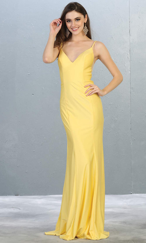 Mayqueen MQ1819 long yellow sexy fitted prom dress w/open back. Full length yellow gown is perfect for enagagement/e-shoot dress, wedding reception dress, indowestern gown, formal evening party dress, prom. Plus sizes avail.jpg