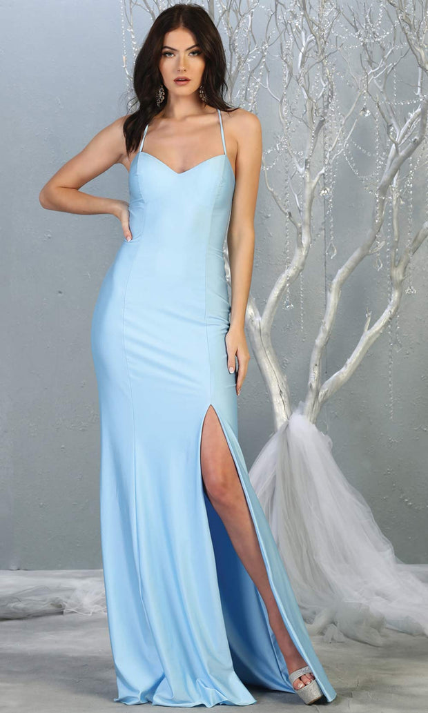 Mayqueen MQ1820 long baby blue sexy fitted prom dress w/open back & high slit. Full length light blue gown is perfect for enagagement/e-shoot dress, wedding reception dress, indowestern gown, formal evening party dress, prom. Plus sizes avail.jpg