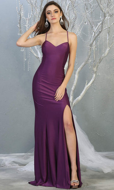 Mayqueen MQ1820 long eggplant sexy fitted prom dress w/open back & high slit. Full length dark purple gown is perfect for enagagement/e-shoot dress, wedding reception dress, indowestern gown, formal evening party dress, prom. Plus sizes avail.jpg