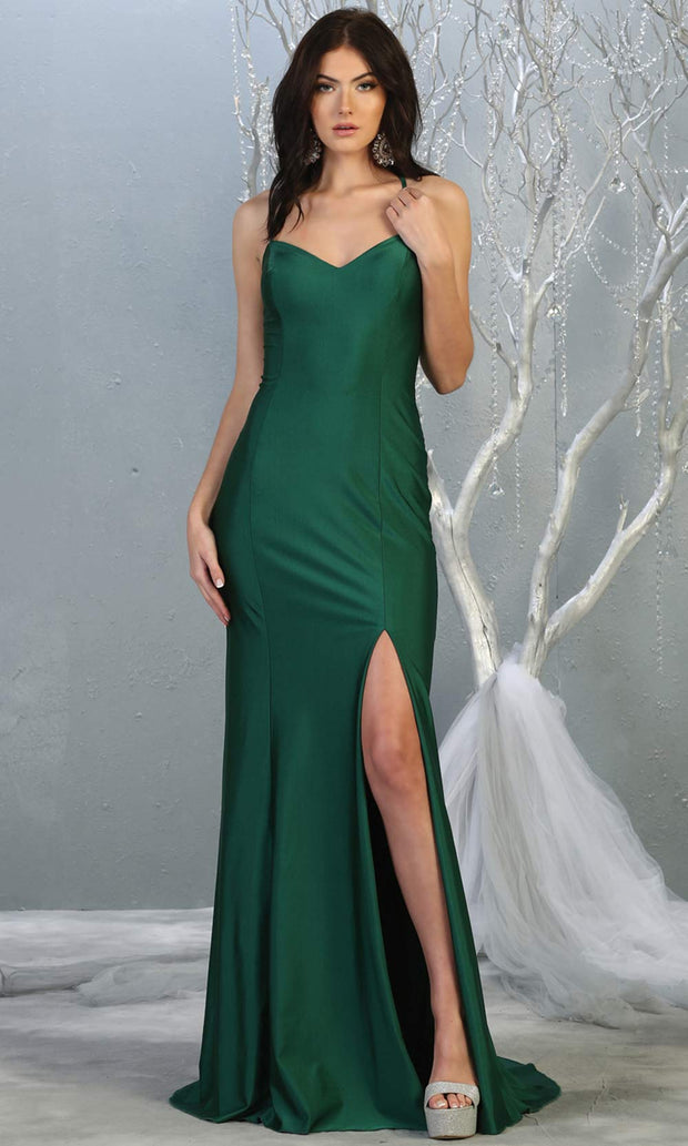 Mayqueen MQ1820 long hunter green sexy fitted prom dress w/open back & high slit. Full length dark green gown is perfect for enagagement/e-shoot dress, wedding reception dress, indowestern gown, formal evening party dress, prom. Plus sizes avail.jpg