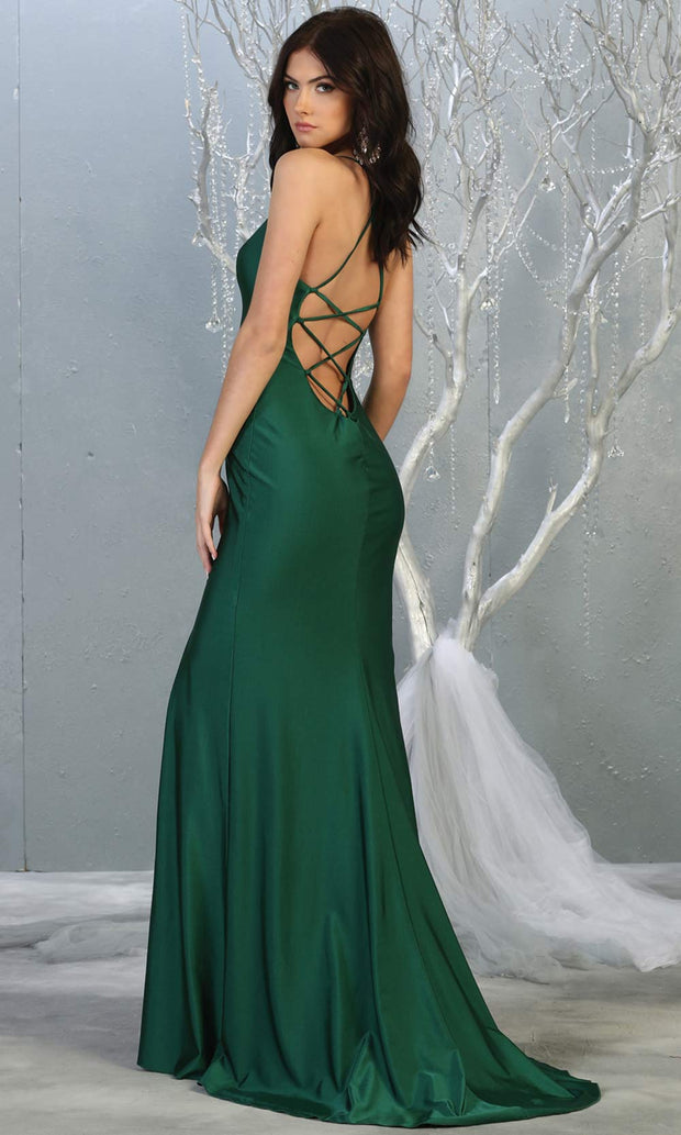 Mayqueen MQ1820 long hunter green sexy fitted prom dress w/open back & high slit. Full length dark green gown is perfect for enagagement/e-shoot dress, wedding reception dress, indowestern gown, formal evening party dress, prom. Plus sizes avail-b.jpg