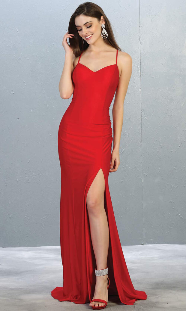 Mayqueen MQ1820 long red sexy fitted prom dress w/open back & high slit. Full length red gown is perfect for enagagement/e-shoot dress, wedding reception dress, indowestern gown, formal evening party dress, prom. Plus sizes avail.jpg