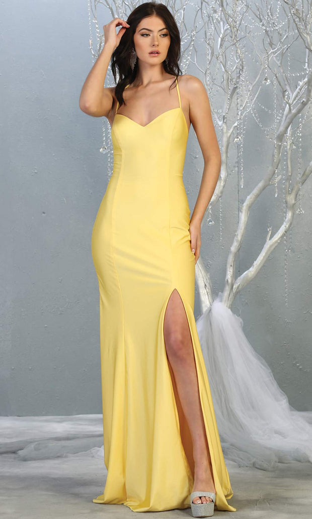 Mayqueen MQ1820 long yellow sexy fitted prom dress w/open back & high slit. Full length yellow gown is perfect for enagagement/e-shoot dress, wedding reception dress, indowestern gown, formal evening party dress, prom. Plus sizes avail.jpg