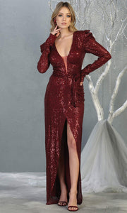 Mayqueen MQ1821 long burgundy red long sleeve sequin fitted dress w/high slit. Full length dark red beaded gown is perfect for enagagement/e-shoot dress, wedding reception dress, indowestern gown, formal evening party dress, prom. Plus sizes avail.jpg