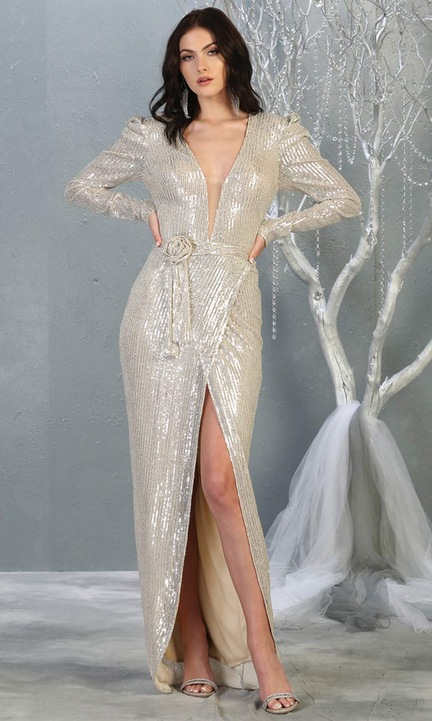 Mayqueen MQ1821 long champagne long sleeve sequin fitted dress w/high slit. Full length light gold beaded gown is perfect for enagagement/e-shoot dress, wedding reception dress, indowestern gown, formal evening party dress, prom. Plus sizes avail.jpg