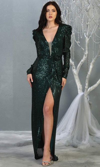 Mayqueen MQ1821 long hunter green long sleeve sequin fitted dress w/high slit. Full length dark green beaded gown is perfect for enagagement/e-shoot dress, wedding reception dress, indowestern gown, formal evening party dress, prom. Plus sizes avail.jpg