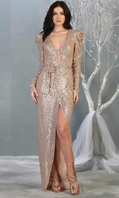 Mayqueen MQ1821 long rose gold long sleeve sequin fitted dress w/high slit. Full length rose gold beaded gown is perfect for enagagement/e-shoot dress, wedding reception dress, indowestern gown, formal evening party dress, prom. Plus sizes avail.jpg