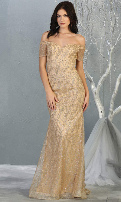 Mayqueen MQ1824 long champagne fitted sequin glittery dress w/off shoulder. Full length light gold gown is perfect for enagagement/e-shoot dress, wedding reception dress, indowestern gown, bridesmaid, formal evening party dress, prom. Plus sizes avail.jpg