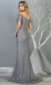 Mayqueen MQ1824 long dusty blue fitted sequin glittery dress w/off shoulder. Full length blue grey gown is perfect for enagagement/e-shoot dress, wedding reception dress, indowestern gown, bridesmaid, formal evening party dress. Plus sizes avail-b.jpg