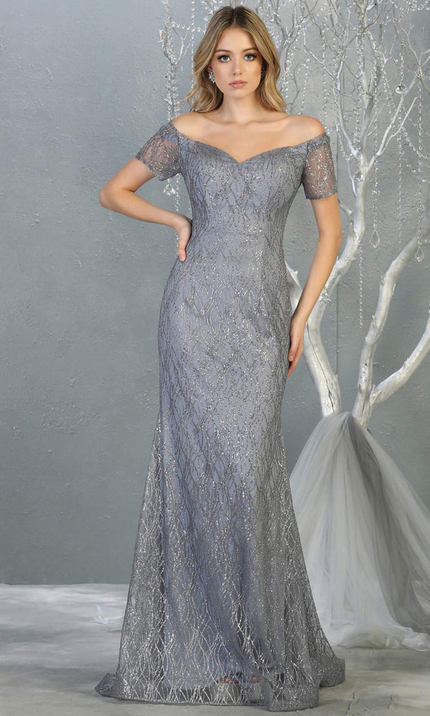 Mayqueen MQ1824 long dusty blue fitted sequin glittery dress w/off shoulder. Full length blue grey gown is perfect for enagagement/e-shoot dress, wedding reception dress, indowestern gown, bridesmaid, formal evening party dress, prom. Plus sizes avail.jpg