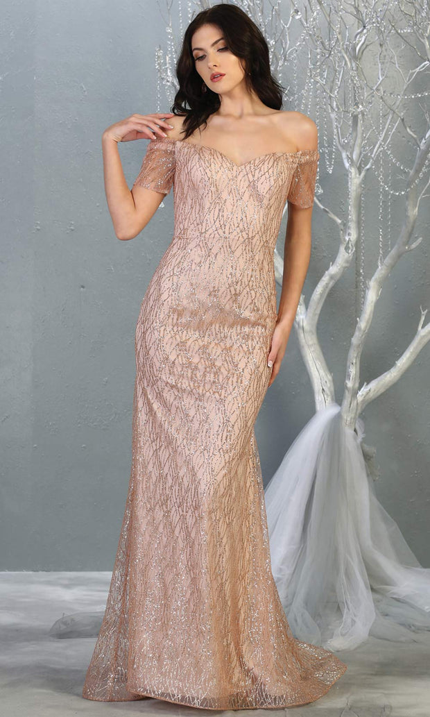 Mayqueen MQ1824 long rose gold fitted sequin glittery dress w/off shoulder. Full length rose gold gown is perfect for enagagement/e-shoot dress, wedding reception dress, indowestern gown, bridesmaid, formal evening party dress, prom. Plus sizes avail.jpg