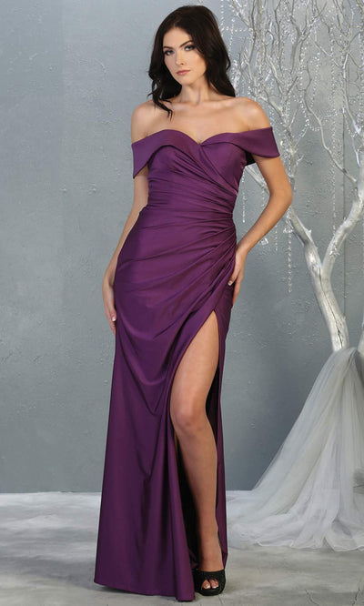 Mayqueen MQ1825 long eggplant off shoulder fitted bridesmaid dress w/high slit. Full length sleek & sexy gown is perfect for enagagement/e-shoot dress, formal wedding guest, indowestern gown, evening party dress, prom, bridesmaid. Plus sizes avail.jpg