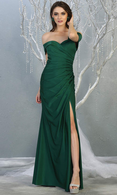 Mayqueen MQ1825 long hunter green off shoulder fitted bridesmaid dress w/high slit. Full length sleek & sexy gown is perfect for enagagement/e-shoot dress, formal wedding guest, indowestern gown, evening party dress, prom, bridesmaid. Plus sizes avail.jpg
