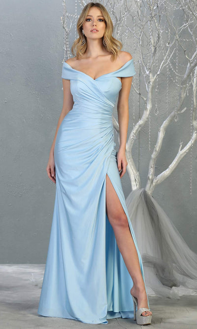 Mayqueen MQ1825 long perry blue off shoulder fitted bridesmaid dress w/high slit. Full length sleek & sexy gown is perfect for enagagement/e-shoot dress, formal wedding guest, indowestern gown, evening party dress, prom, bridesmaid. Plus sizes avail.jpg