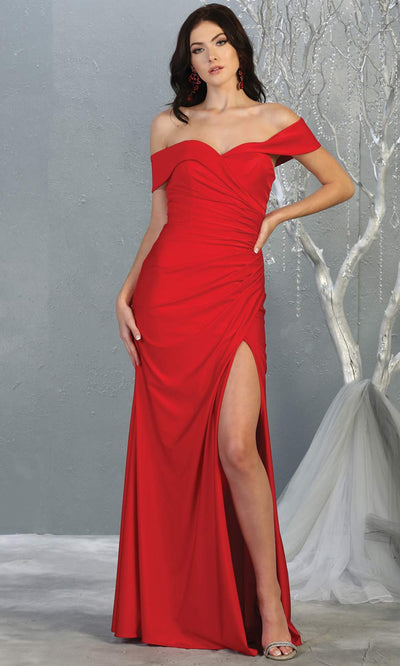 Mayqueen MQ1825 long red off shoulder fitted bridesmaid dress w/high slit. Full length red sleek & sexy gown is perfect for enagagement/e-shoot dress, formal wedding guest, indowestern gown, evening party dress, prom, bridesmaid. Plus sizes avail.jpg
