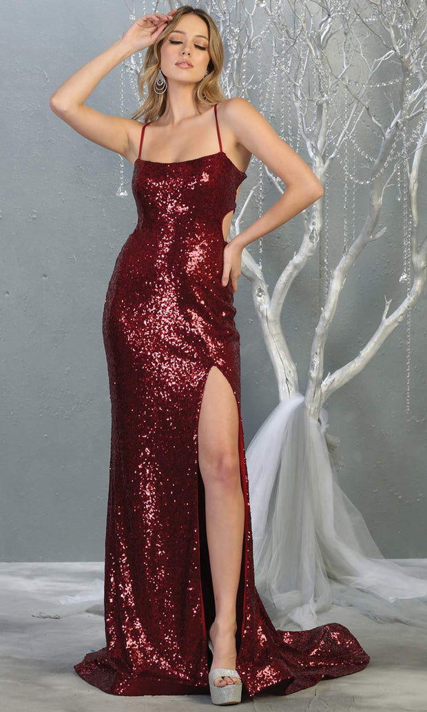 Mayqueen MQ1826 long burgundy red sexy fitted sequin prom dress w/open back & high slit.Full length dark red gown is perfect for enagagement/e-shoot dress, wedding reception dress, indowestern gown, formal evening party dress, prom. Plus sizes avail.jpg