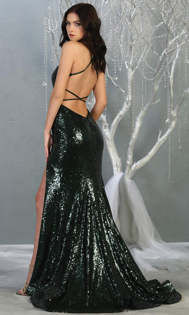 Mayqueen MQ1826 long hunter green sexy fitted sequin prom dress w/open back & high slit.Full length dark green gown is perfect for enagagement/e-shoot dress, wedding reception dress, indowestern gown,formal evening party dress, prom.Plus sizes avail-b.jpg