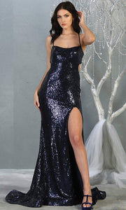 Mayqueen MQ1826 long navy blue sexy fitted sequin prom dress w/open back & high slit. Full length dark blue gown is perfect for enagagement/e-shoot dress, wedding reception dress, indowestern gown, formal evening party dress, prom. Plus sizes avail.jpg