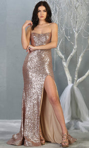 Mayqueen MQ1826 long rose gold sexy fitted sequin prom dress w/open back & high slit. Full length rose gold gown is perfect for enagagement/e-shoot dress, wedding reception dress, indowestern gown, formal evening party dress, prom. Plus sizes avail.jpg