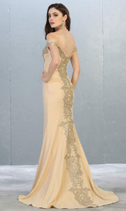 Mayqueen Mq1640 long champagne off shoulder dress w/train. This light gold evening dress is perfect for prom, engagement dress, formal wedding party, wedding reception dress, indowestern gown. Plus sizes are available-b.jpg