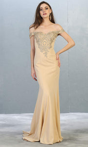 Mayqueen Mq1640 long champagne off shoulder dress w/train. This light gold evening dress is perfect for prom, engagement dress, formal wedding party, wedding reception dress, indowestern gown. Plus sizes are available.jpg