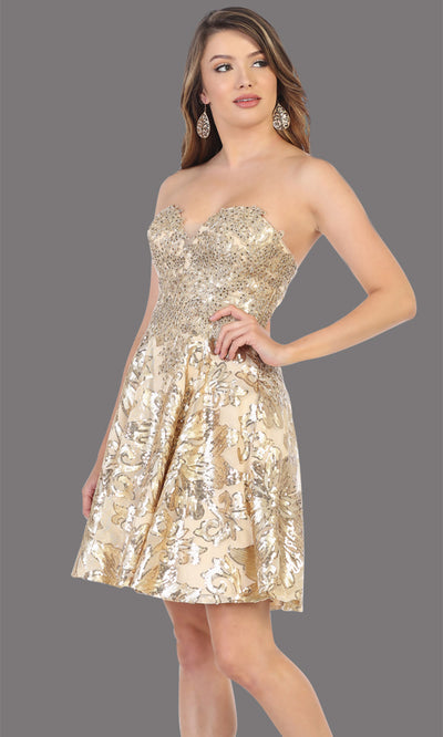 Mayqueen Mq1691 short gold flowy strapless beaded grade 8 graduation dress. This gold shiny party dress is perfect for prom, graduation, grade 8 grad, confirmation dress, bat mitzvah dress, damas. Plus sizes avail