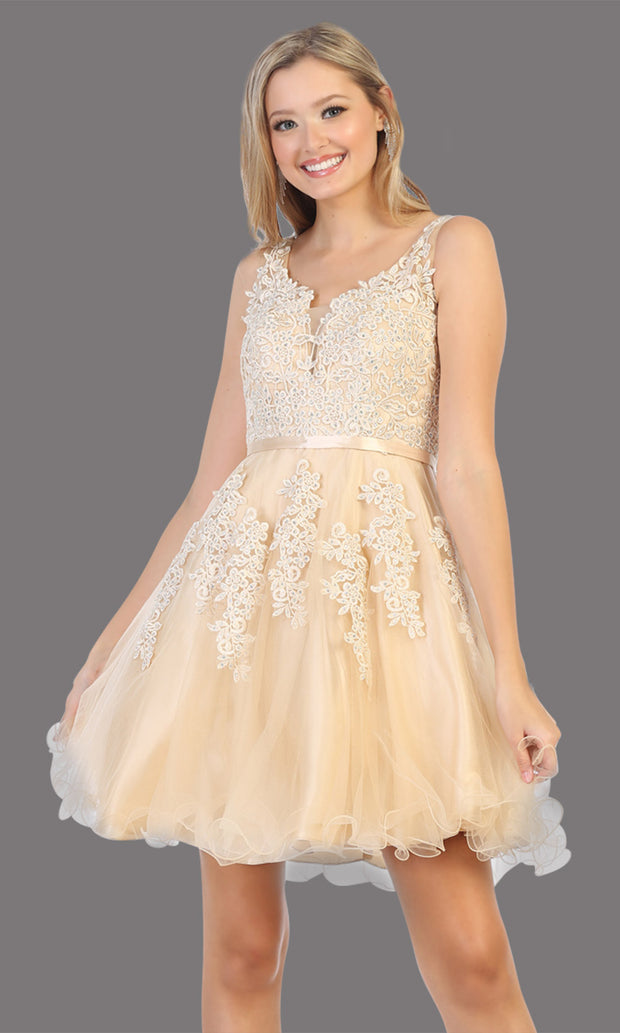 Mayqueen Mq1692 short champagne gold flowy v neck simple lace grade 8 graduation dress w/ wide straps. This light gold party dress is perfect for prom, graduation, grade 8 grad, confirmation dress, bat mitzvah dress, damas. Plus sizes avail.jpg