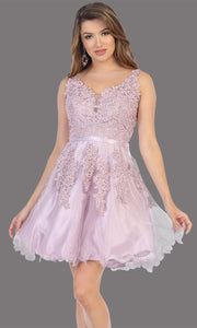 Mayqueen Mq1692 short mauve flowy v neck simple lace grade 8 graduation dress w/ wide straps. This dusty rose party dress is perfect for prom, graduation, grade 8 grad, confirmation dress, bat mitzvah dress, damas. Plus sizes avail.jpg