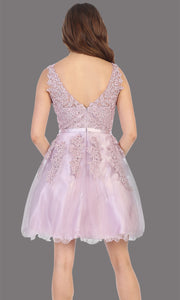 Mayqueen Mq1692 short mauve flowy v neck simple lace grade 8 graduation dress w/ wide straps. This dusty rose party dress is perfect for prom, graduation, grade 8 grad, confirmation dress, bat mitzvah dress, damas. Plus sizes avail-back.jpg