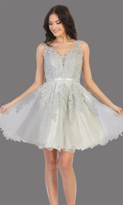 Mayqueen Mq1692 short silver gray flowy v neck simple lace grade 8 graduation dress w/ wide straps. This light grey party dress is perfect for prom, graduation, grade 8 grad, confirmation dress, bat mitzvah dress, damas. Plus sizes avail.jpg